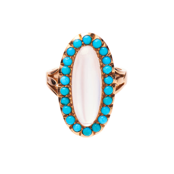Antique Victorian 18k Moonstone and Turquoise Ring