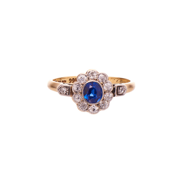 Antique Victorian 18k & Platinum Sapphire & Diamond Cluster Ring