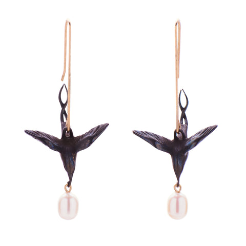 Gabriella Kiss Oxidized Bronze Flying Humming Birds with Pearl Earrings
