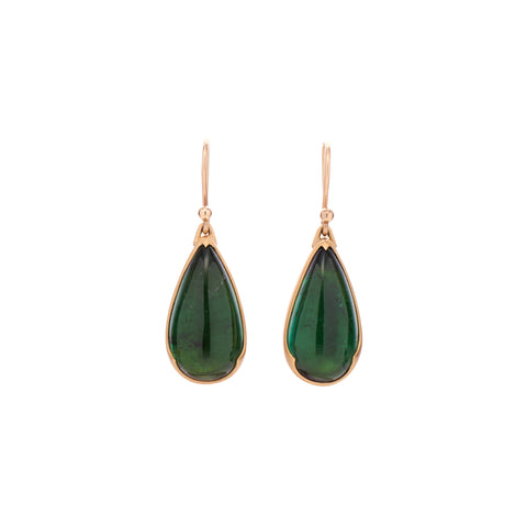 Gabriella Kiss Deep Green Tourmaline Pear Drop Earrings