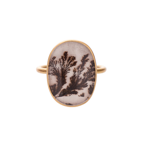 Gabriella Kiss 18k Large Oval Dendritic Agate Ring