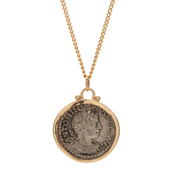 B.C. E. Jewelry Ancient 14k & Silver Greek Coin Pendant