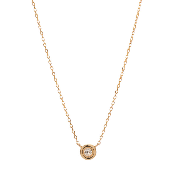 Louison Fine 14k Single Diamond Bezel Necklace