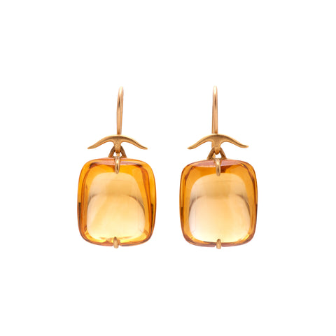 Gabrilla Kiss 18k Citrine Rectangular Pillow Drop Earrings