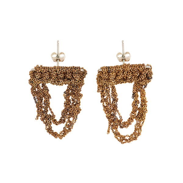 Arielle de Pinto Blackwork Earrings in Burnt Gold