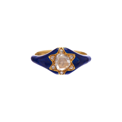 Antique Early Victorian Navy Enamel & Large Rose Cut Diamond Ring