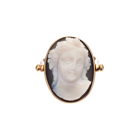 Antique Victorian 18k Cameo Specimen Ring