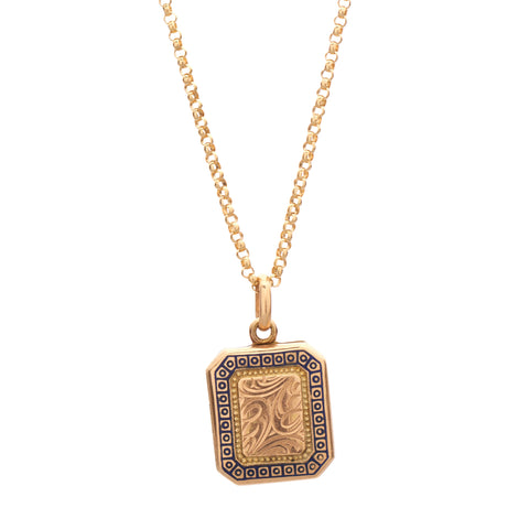 Antique Art Deco 9k Enamel & Engraved Rectangular Locket Pendant
