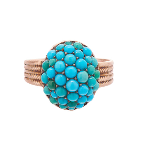 Antique Victorian 12k Oval Pavé Turquoise Ring