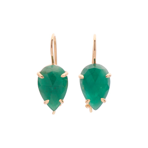Gillian Conroy 18k Pear Rose Cut Emerald Earrings - 6ct