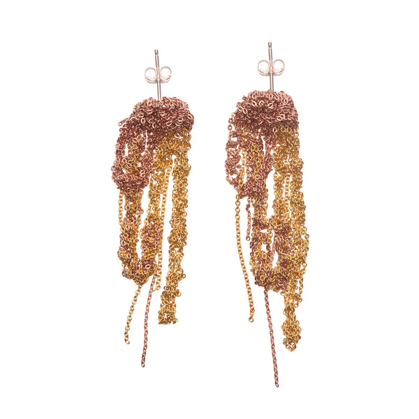 Arielle de Pinto Two Tone Drip Earrings in Rose & Gold