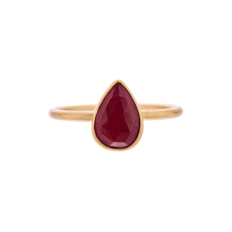 Gabriella Kiss 18k Pear Rose Cut Ruby Ring