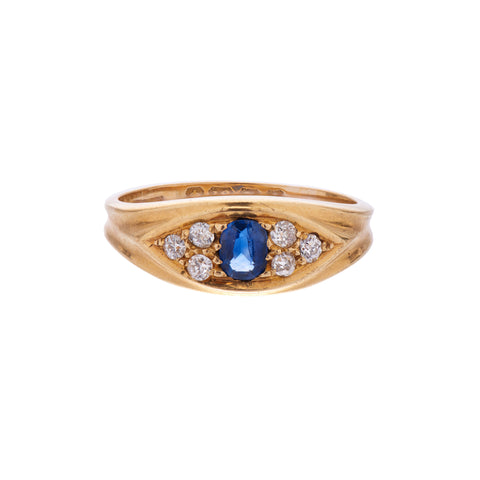 Antique Turn of Century 18k Sapphire & Diamond Eye Ring