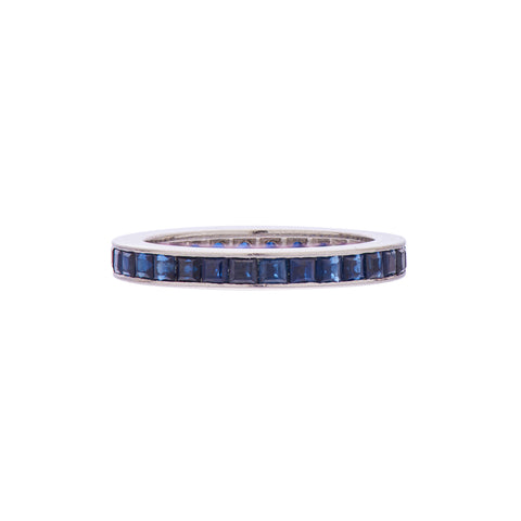 Vintage 1960's Platinum Natural Sapphire Eternity Band