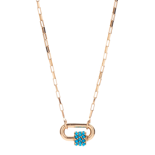 Marla Aaron 14k Stoned Chubby Baby Lock with Turquoise