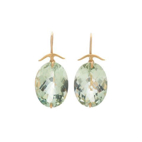 Gabriella Kiss 18k Oval Faceted Green Amethyst Earrings