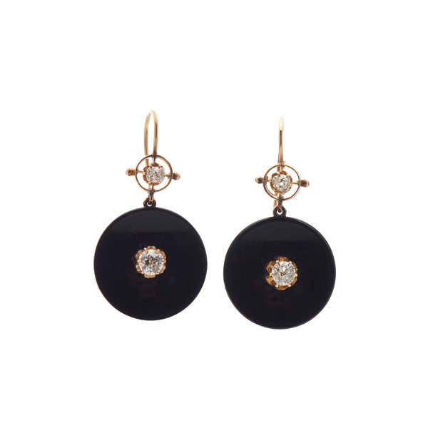 Antique Victorian 14k Round Onyx Plaques with Euro Cut Diamond Earrings