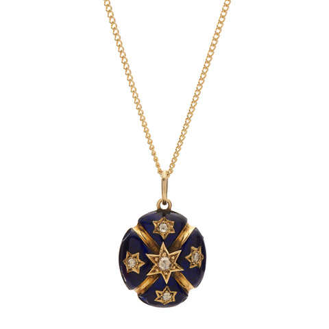 Antique Victorian 12k Gold, Navy Enamel and Rose Cut Diamond Star Pendant