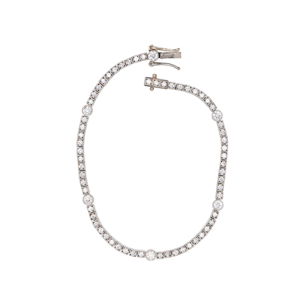 Vintage 18k White Gold Bracelet with Full Cut & Euro Cut Diamonds