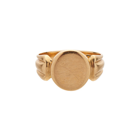 Antique Victorian 18k Columned Band Signet Ring