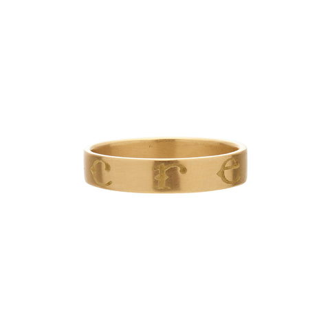 "Gabriella Kiss 18k Band Ring Inscribed with ""CREARE"""