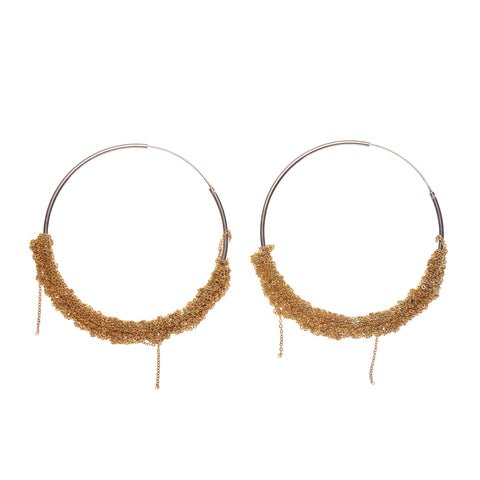 Arielle de Pinto Silver and Gold Hoops