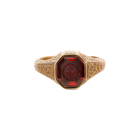 Antique Victorian 18k Garnet Hope & Ouroboros Ring