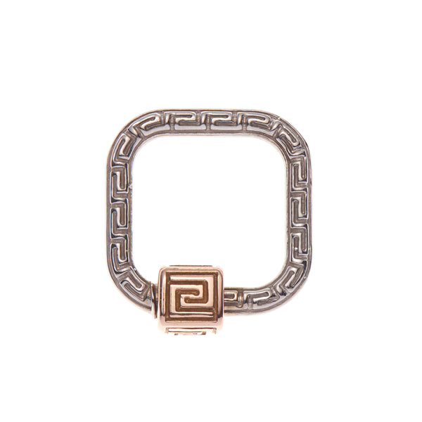 Marla Aaron 14k White Gold Meander Lock with Rose Gold Closure