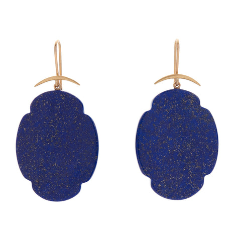 Gabriella Kiss 14k/18k Lapis Scallop Earrings