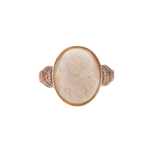 Antique 1920's 9k Cameo Agate Ring