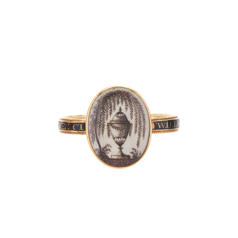 Antique Georgian 18k Urn & Willow Black Band Memorial Ring