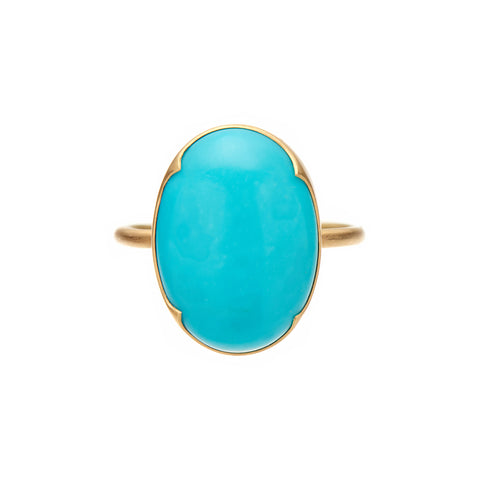 Gabriella Kiss 18k Large Oval Cabochon Sleeping Beauty Turquoise Ring