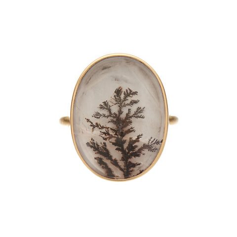 Gabriella Kiss 18k Oval Dendritic Vertical Agate Ring
