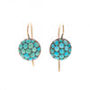 Antique Victorian 14k Pave Turquoise Button Earrings