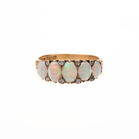 Antique Victorian 18k Opal & Diamond Half Hoop Ring