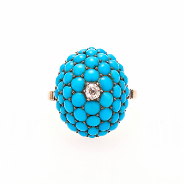 Antique Victorian Pavé Turquoise Oval with Center Diamond Ring