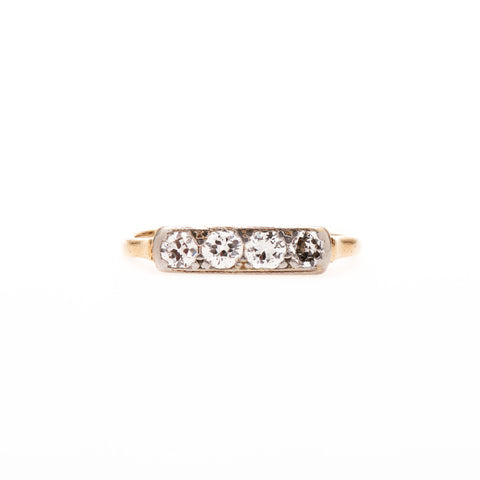 Vintage Mid-Century Four Diamond Line Ring