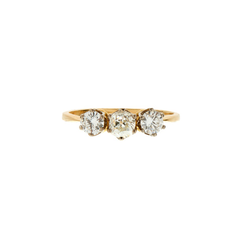 Vintage Mid Century 14k and Platinum Three Diamond Ring