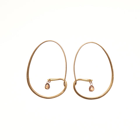 Gabriella Kiss 18k Small Snake Hoops with Diamond Eyes 1ctw Cognac Drops