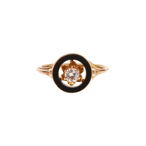 Antique Late Victorian 14k Black Onyx & Diamond Ring