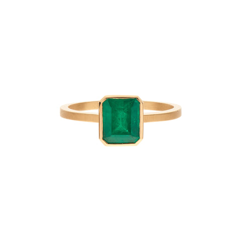 Gillian Conroy 18k Colombian Cushion Emerald Bezel Set Ring