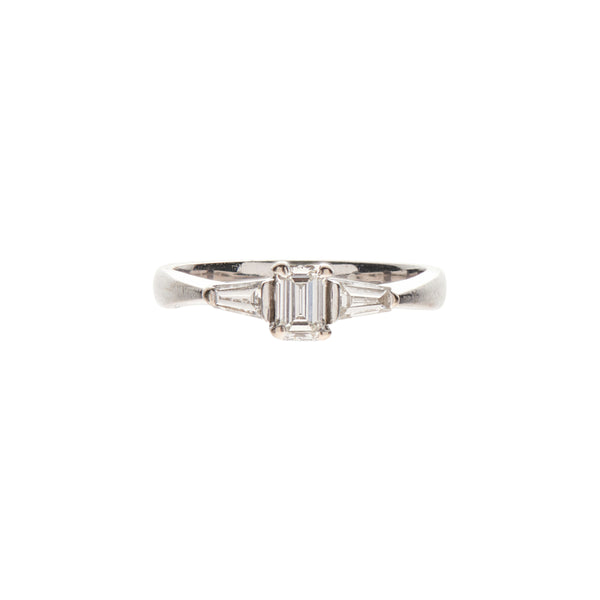 Antique Platinum, Emerald Cut & Two Baguette Diamond Ring