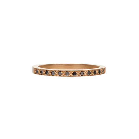 Gillian Conroy 14k I AM LOVE band with Black Diamonds