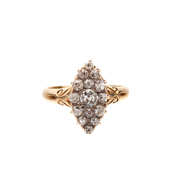 Antique Victorian 14k Diamond Navette Ring