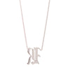 "Louison Fine White Gold & Diamond Gothic ""R"" with 16""-18"" Chain Necklace"