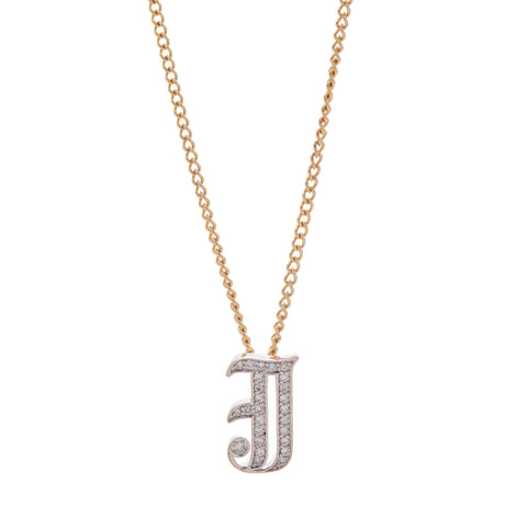 "Louison Fine Small 14k White Gold and Diamond Gothic ""J"" Initial Pendant"