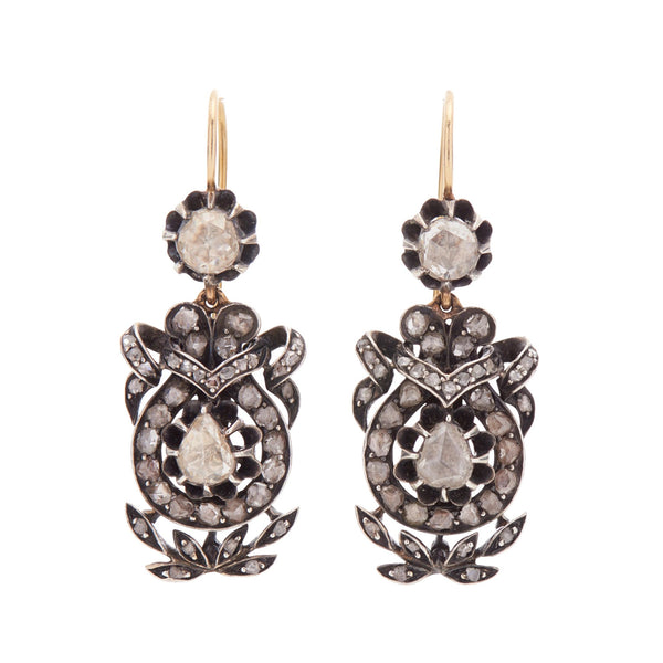 Antique Georgian 15k Silver Set Foiled Rose Cut Diamond Earrings
