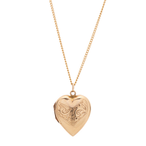 Antique Art Nouveau 9k Engraved Heart Locket Pendant