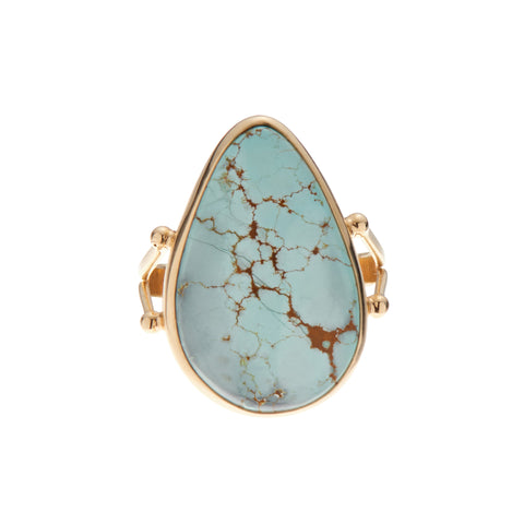 B.C.E. Jewelry 14k Number 8 Mine Turquoise Teardrop Ring