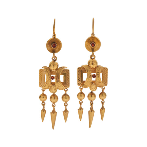 afc3d6046 Antique Victorian 15k Fringe Earrings with Tiny Garnets